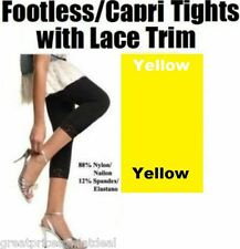 f7063ea182a Ladies Footless Tight capri Leggings With Lace Trim  yellow Angelina One  Size