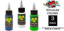 MOMS Tattoo Nuclear Ultra Violet UV Blacklight Ink 3 Colors Set C Bottle 1/2 oz