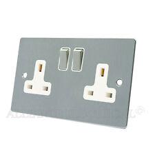 Brushed Matt Satin Chrome Flat Socket 2 Gang - 13 Amp Double Plug Outlet Point