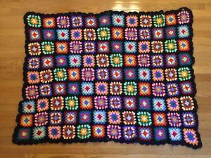 "Original Estate Find Granny Square Crocheted Afghan, 52"" X 42"", Acrylic Yarns"