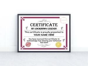 Personalised Certificate Achievement Kids School Work From Home Lockdown Legend