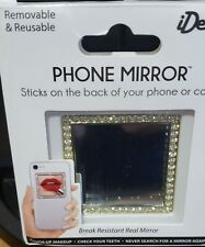 Cellphone Mirror Accessory | Gold Color with Crystals | Removable / Reusable