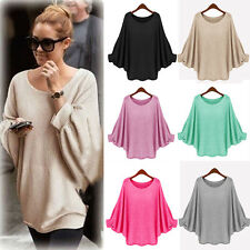 Women Ladies Oversized Sweater Batwing Sleeve Baggy Jumper Knitted Blouse Top