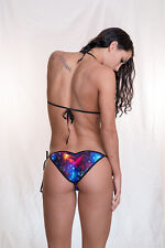 holographic galaxy scrunch butt bikini w/adj. top & side tie scrunch bottom S/M