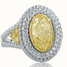 4 Carat Engagement Ring Yellow Oval Cut Halo Diamond Split Shank 18k Gold Band