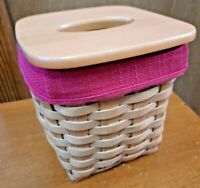 LONGABERGER TALL TISSUE  HOLDING BASKET WITH PLASTIC PROTECTOR & RED LINER 2002