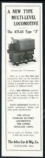 1929 Atlas mine car mining cart locomotive photo vintage trade print ad