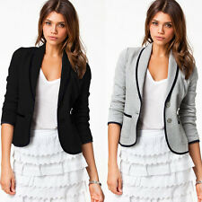 Stylish Women Slim Button Collar Casual Business Blazer Suit Jacket Coat Outwear