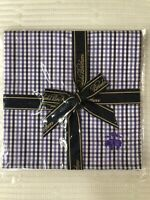 NEW! Brooks Brothers Men's Pocket Square 100% Cotton - Purple-Original Packaging