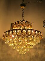 Antique French Huge Basket Crystal Chandelier Lamp Lustre 1960's 20in Ø DMTR