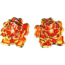 Joan Rivers Fire Coral Plique a Jour Flower Pierced Earring
