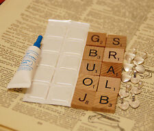 10 x DIY Scrabble tile pendant Kit resin stickers, bails and Glue are included