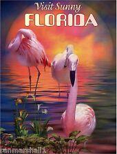 Visit Sunny Florida Flamingo Bird United States Travel Advertisement Art Poster