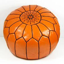 Leder Sitzhocker orientalische Sitzkissen Pouf Pouffe Ottoman Sitz kissen Orange