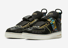 Nike Air Force 1 Utility BHM QS BLM Black Metallic Gold BV7783-001 NEW Shoes