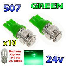 10 X 24V GREEN LED BULBS CAPLESS 507 501 SIDE LIGHT W5W T10 WEDGE HGV MAN VOLVO