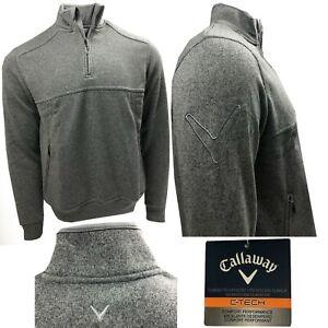 Callaway Golf C Tech Chev Sleeve 1/4 Zip Tech Pullover Jumper - SMALL ONLY