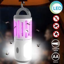 Zanzariera Elettrica Lampada Torcia LED da Campeggio Anti Zanzare Batteria AA