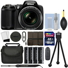 Nikon Coolpix L340 20.2 MP Digital Camera 28x Optical Zoom Black + 16GB Kit