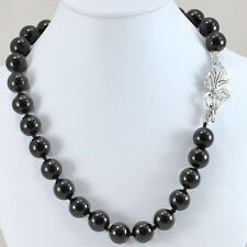 """Natural Black Onyx Hand Knotted Silver Leaf Toggle Necklace 20"""" GIFT ideas"""
