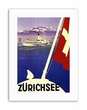 LAKE ZURICH SWITZERLAND BOAT ALPINE MOUNTAIN FLAG Poster Travel Canvas art