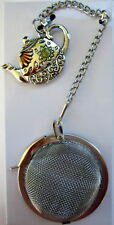 SILVER MESH BALL SHAPED TEA INFUSER WITH LOCK & TEAPOT CHARM KITCHEN TEA GIFT BN