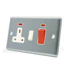 Brushed Satin Chrome Classical 45A Cooker Socket Unit w/ Neon - CSCCC2NWH