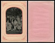 1/4 PLATE ANTIQUE OUTDOOR TINTYPE PHOTO PORTRAIT OF TEN PEOPLE OUTING IN WOODS