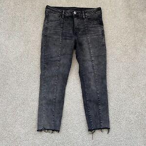 American Eagle Womens Jeans 12 Jegging Crop Gray Raw Hem Denim