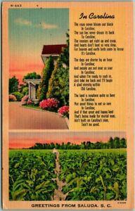 "SALUDA, South Carolina Greetings Postcard ""IN CAROLINA"" Poem Linen / 1952 Cancel"