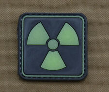 """PVC / Rubber Glow in the Dark Patch """"Nuclear"""" with VELCRO® brand hook"""