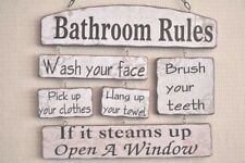 Bathroom Rules Wall Plaque Sign Funny Quotes Wooden Cream Black 37cm SG1657