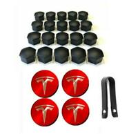 OEM Tesla Model 3  S X Aero Wheel Center cap (Red+Silver) and lug nut covers kit