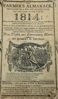 1814 Farmer's Almanac by Robert B. Thomas  New England Boston   -S-