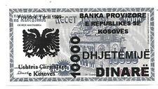 More details for kosovo - 10,000 dinare,  provisional 1999 banknote from their only series. unc