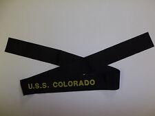 b9518 US Navy WW2 Cap Hat Tally U.S.S. Colorado Battle Ship BB-45 IR32D