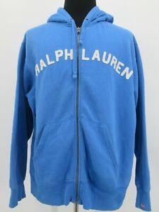 L7279 Polo Ralph Lauren Men's Full-Zip  Hoodie Spell-Out Sweatshirt Size XL
