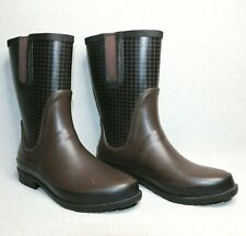 L.L. Bean WOMEN'S Brown Wellie Waterproof Houndstooth Rain Boots Size 10M US