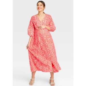 Hatch The Nines Red Floral Maternity Maxi Dress Small NWT