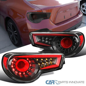 For 13-16 Scion FRS Subaru BRZ LED Red Tube Rear Black Tail Lights Signal Lamps