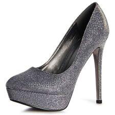 Mujer Tacones Plataforma De Aguja Zapatos Noche Brillo Gris 40 1036