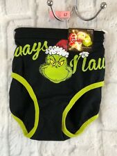 Grinch ALWAYS NAUGHTY Hipster Black Green Panties Size 7 New