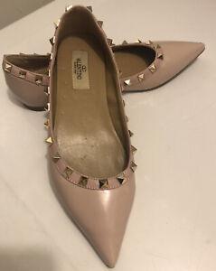 Valentino garavani rockstud Blush pink patent leather flat shoes EU 38 RP$770
