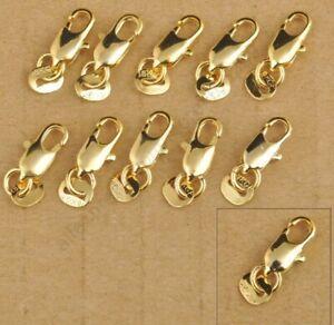 18k Tag Gold Plated Lobster Clasp Clasps Hooks Necklace Bracelet Connector K12