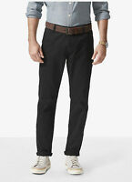 Dockers Alpha Stretch Khaki Slim Fit Tapered Leg Men's Black Flat Front Pants