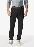Dockers Alpha Stretch Khaki Slim Fit Tapered Leg Men's Black Flat Front Pants