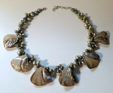 Tahitian Pearl and Abalone Shell Cluster Statement Necklace Breathtaking Colors!