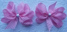 "2 PINK AND WHITE GINGHAM 3"" INCH GIRLS RIBBON HAIR BOWS ALLIGATOR CLIP SET NEW"