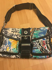 AUTHENTIC PRADA MULTICOLOR NYLON ST VENEZ GIADA + NERO HANDBAG    !! JAETOL