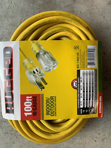 10/3 100ft SJTW Lighted End Extension Cord 15 Amp 300 Volt 1875 Watt (100 feet)